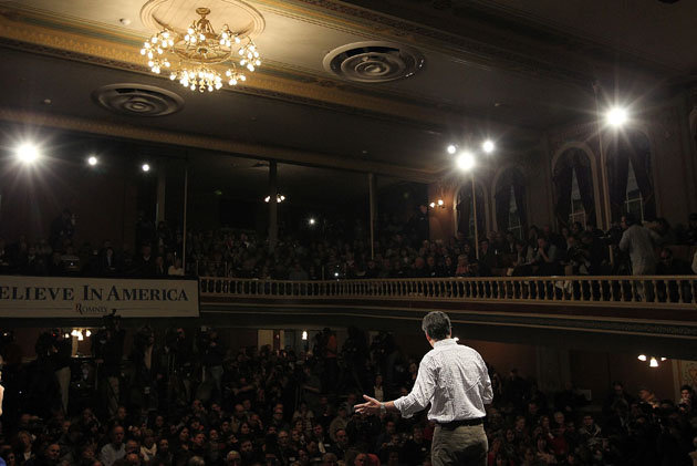 ROCHESTER, New Hampshire—So far, Mitt Romney has made few major missteps in his pursuit of the 2012 Republican nomination, running a consistent campaign largely free of the errors that have caused his GOP rivals to stumble. But the former Massachusetts isn't entirely immune from mistakes, and he often makes them when trying to work on what could be his greatest vulnerability as a candidate: his struggle to personally connect with voters. Appearing on stage at a small but ornate opera house in this northern New Hampshire town, Romney was dressed as he often is on the campaign trail—in an outfit that was nice, but not too nice. He wore brown pants and a checkered button-down cotton shirt with the sleeves rolled up that was wrinkled just enough to seem informal. As he walked the stage, Romney was cast against the backdrop of his family, including his wife, Ann; his brother; three of his five sons; their wives and five of his 16 grandchildren who have joined him on the trail in recent days. The roving family tableau is clearly intended to  emphasize the steadiness of Romney's character and personal life—a major theme that the Romney campaign plays up in its primary-state appeals. Speaking to voters, Romney delivered much of the same stump speech he's been giving for weeks—heavy on attacks against President Obama, talking up his experience in the private sector and boasting about his love of America. But on Sunday, he spoke in more personal terms about his experience as a venture capitalist—a profession that made Romney one of the wealthiest men ever to seek the presidency, while also providing fodder for attacks from Romney's GOP rivals.  Read the rest
