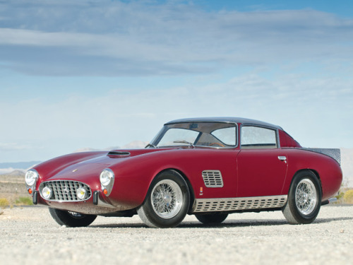 motoriginal:  This is the story of the only Scaglietti 1957 Ferrari 410 Superamerica ever built. The 410's were all built by Pininfarina, except one…and this is it! Built specifically for a special Ferrari patron, it has a pretty chaotic but amazing history. And it goes like this; The car was delivered to its new special owner in 1957 who turned around and sold it in 1958. It was sold again in 1961 and by the 1970s was owned by a man in California where it was stolen. The thief removed the body from the chassis, disposed the body, and sold the chassis to a farmer in Oregon where it sat for almost 20 years until Greg Harrison, a known Ferrari collector (and TV director), heard about its location. Harrison put ads in the local papers offering a reward to the person who had it and lo and behold, the car's location was revealed.  He personally bought the car within a day and had it flown to Italy and put into the hands of the original creator, Scaglietti.  Original sketches, blueprints, work sheets, and factory photos were unearthed and the car was carefully restored within two years and now it's up for auction again at RM.  The story of the '57 410 Superamerica continues! ~Jeff