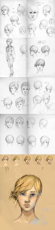 "This is a character design (well, a hair design, really) for ""Aumair"" from a story I'm making up. (same story: sholalee.tumblr.com/post/14519074919/drawing-a-day-no-3-my-weekend-work-friends ) He's a princely-type character from the upper classes. They all look exceedingly pretty due to the genetic screening/enhancement options available to those with the moneys. His nickname is goldie (for his hair) and he has some kind of big cat pet/friend that lounges around on his silk sheets.Full process at…http://erastide.deviantart.com/art/Goldie-278531881"