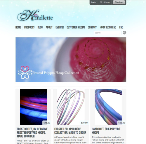 I got my official Kindlette website up & running :D Check it out: www.kindlette.com where you'll find my unique, hand made hula hoops (frosted, UV reactive & hand dyed silk polypro's & mini's). More products and prop accessories to come.You can follow Kindlette's Blog and Events for the most current happenings & also, hop on over to Kindlette on facebook for up to date product info and discounts.
