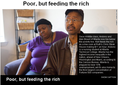 "We must stop protecting the richest 1% and start fighting for the 99% or we will no longer have a Middle Class. We will have the 1% and their Servant Class. To put this article in perspective:  ""He makes $11 an hour as a line cook. At that rate, it would take  four hours of work to afford one of the cowboy ribeyes he cooks."""