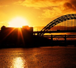 Newcastle's bridges at sunset. Mine.