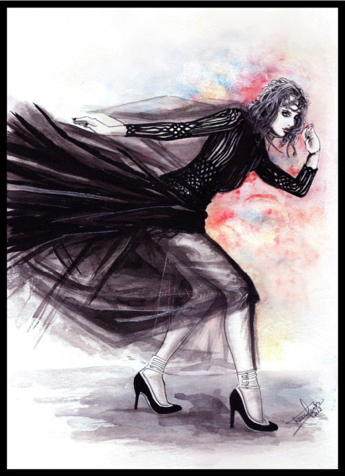 """Valentino"" My first drawing this year \o/ Fashion illustration with a Valentino dress. I loved the Vogue picture :) Done in watercolors and China ink. 2012"