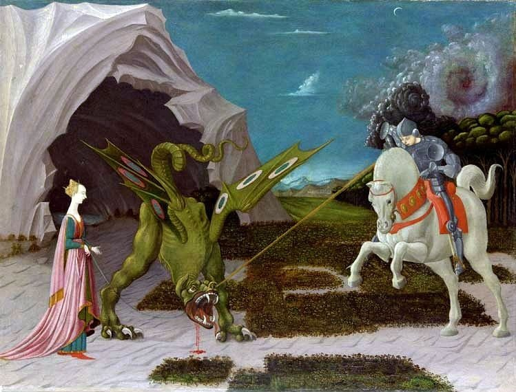 Paolo UccelloSaint Georges et le dragonHuile sur toile55,6 x 74,2 cm - 1470(The National Gallery, Londres)