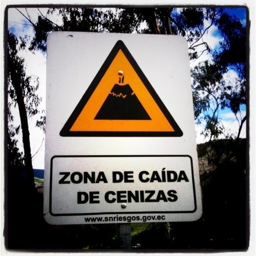 pyroclastic road sign warning ecuador
