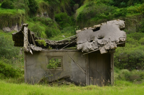destroyed farm house by lava Tungurahua Ecuador