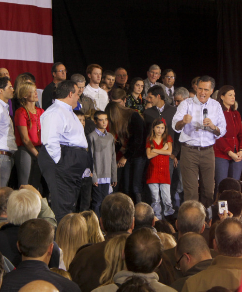 One little girl looks particularly happy on stage at the Romney/Christie rally on Sunday. Photo by Elaura Rifkin, American Observer.