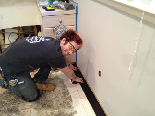 "Very exciting time! @Anthonypending is installing the floor in my new house. He is cuuently blasting ""All My Life"" by KC & Jo Jo on the stereo."