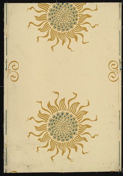 lunar-danse:  Walter Crane, Portion of wallpaper showing a sun decoration