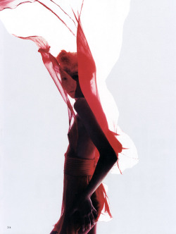 "horreure:  ""Slip Stream"" Maggie Rizer by Nick Knight for Vogue UK, April 2000"