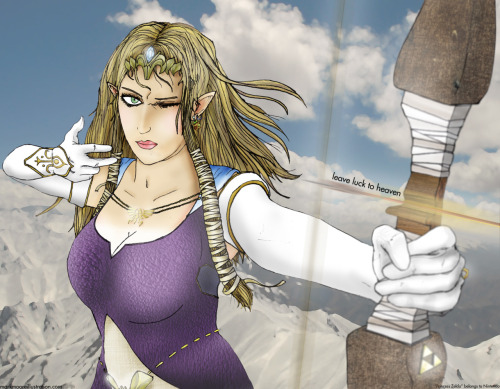 """Princess Zelda - Leave Luck To Heaven"" Part 3 of 3 (when viewed from left to right) Part of a Nintendo Triptych - Full description here"