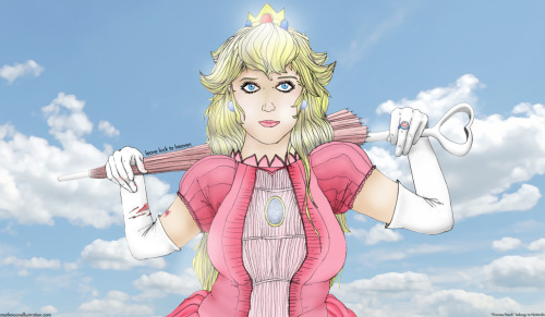 """Princess Peach - Leave Luck To Heaven"" Part 2 of 3 (when viewed from left to right) Part of a Nintendo Triptych - Full description here"