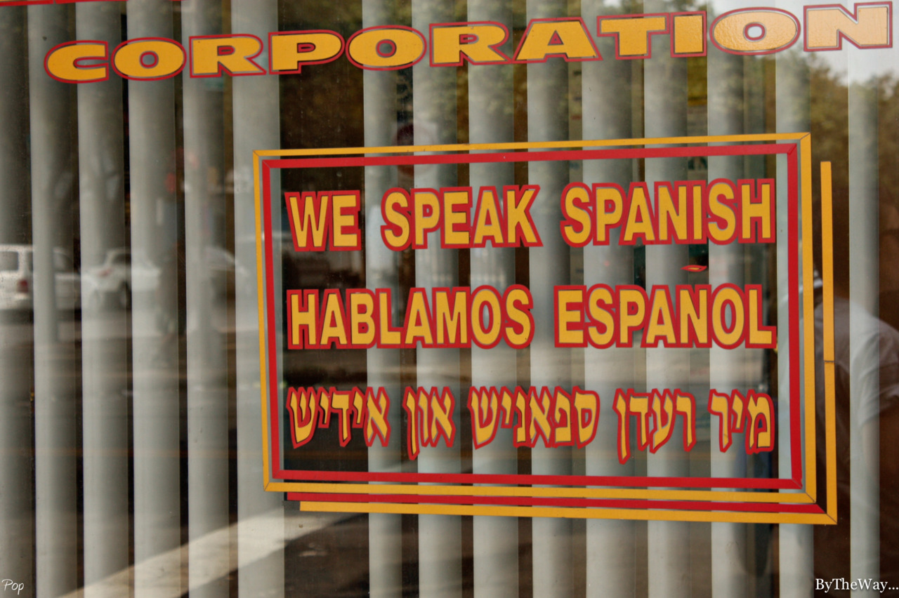 This is why I love NYC: English, spanish and yiddish spoken - Somewhere in Williamsburg, Brooklyn, NY