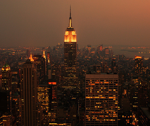 new-yorkcity:  Empire State.  Sunset