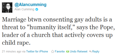Alan Cumming, may your brilliant wit be retweeted by 6 billion people.