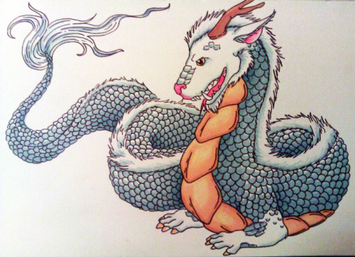 allisonde:  Chinese dragon for the new year…a little early. Prismacolor.  Daily drawing blog.