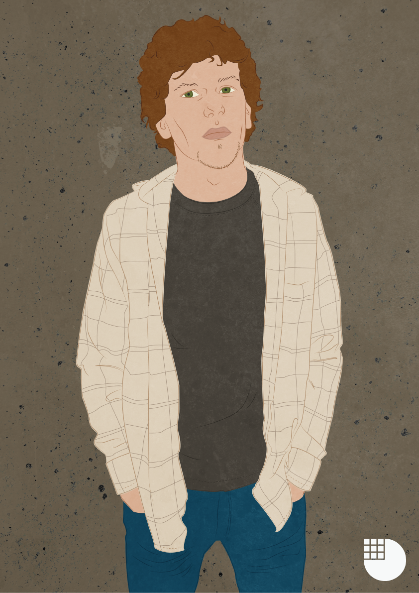 Jesse Eisenberg illustration by me, Genevieve Dennis