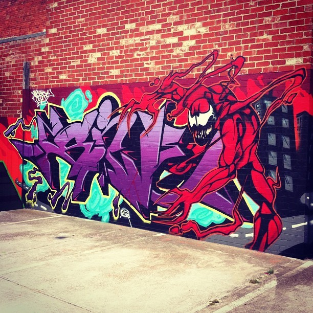 #Marvel #comics #Spiderman #Carnage  #Graffiti #MelbourneGraffiti (Taken with Instagram at Thomson Real Estate Murrumbeena)