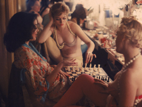 Backstage at a 50s burlesque show.