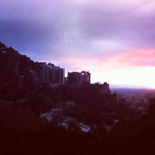 Bogotá at sunset. #bogota #colombia #sunset #city #window #6PM (Taken with instagram)