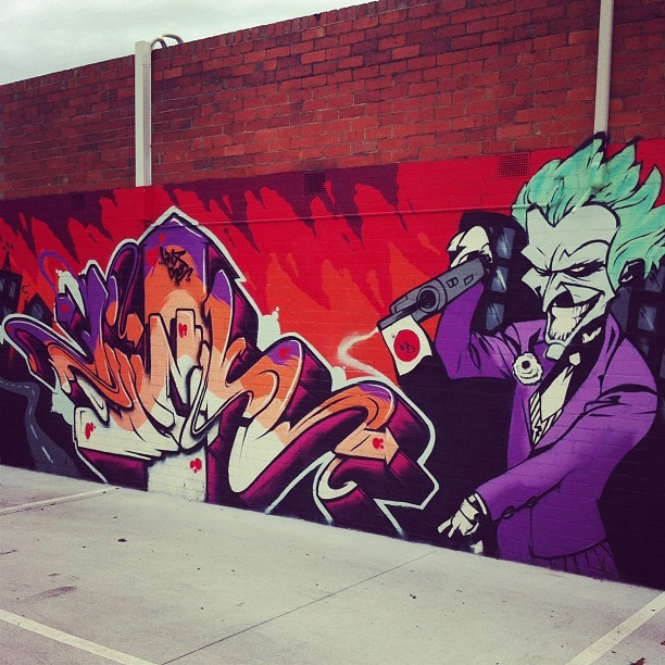 #Graffiti #MelbourneGraffiti #Joker #comics #Batman (Taken with Instagram at Thomson Real Estate Murrumbeena)