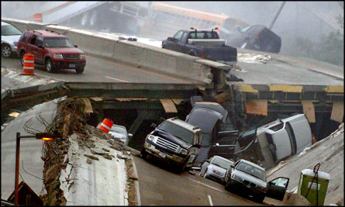 Cars are strewn on the collapsed portion of the Interstate 35W bridge, which stretches between Minneapolis and St. Paul, after it collapsed Wednesday, Aug. 1, 2007, into theMississippi Riverduring evening rush hour. (St. Paul Pioneer Press | Brandi Jade Thomas)