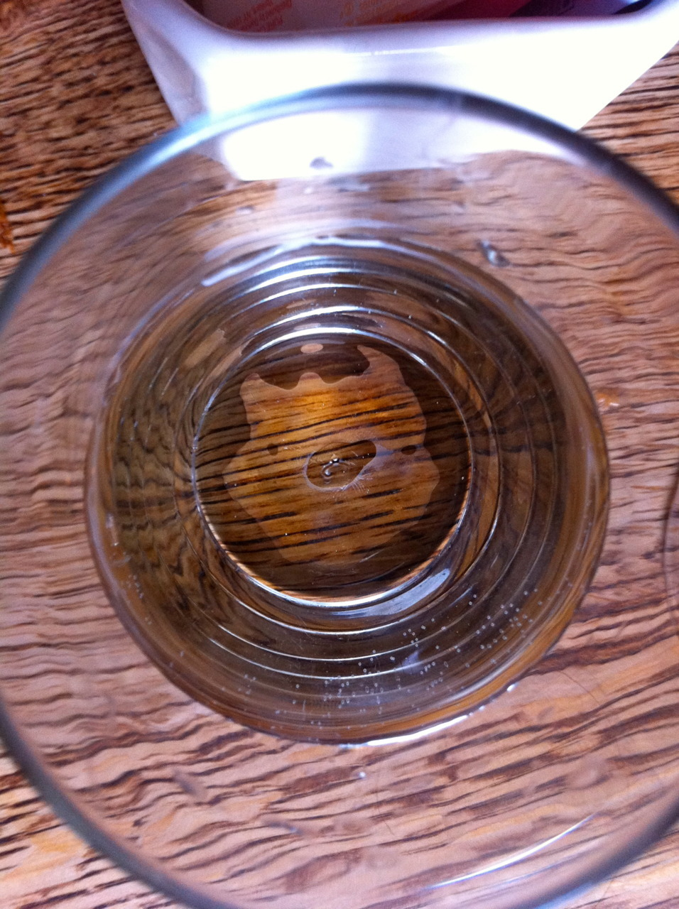 WATER UNDER DRINKING GLASS/ PIG Even my drinking glass agrees with Mother.