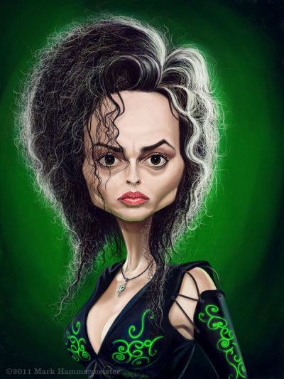 Here's a caricature I did of Helena Bonham Carter in full Bellatrix Lestrange garb from the Harry Potter movies. This was painted in Photoshop.