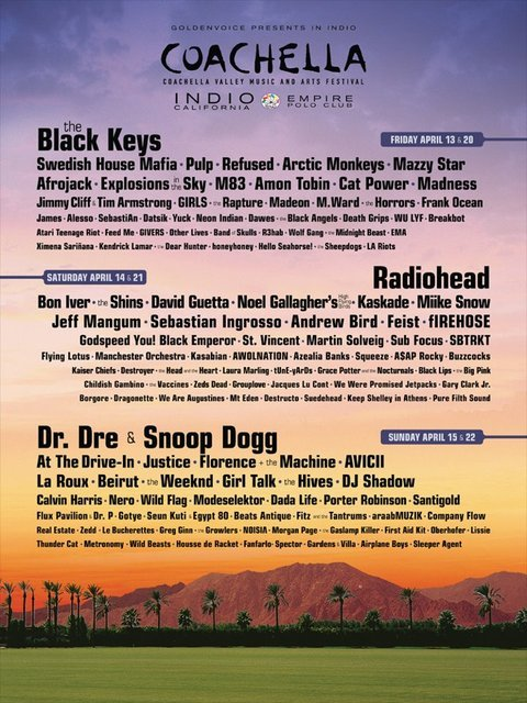 This Coachella 2012 official line up is crazy! David Guetta, Afrojack, Swedish House Mafia, Zedd, R3hab, Kaskade, Avicii and so many more!