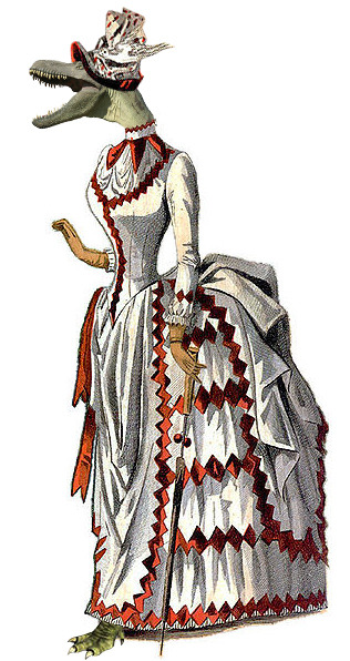 Lady albertosaurus wears the fashionable neckline of the mid-decade 1880's, with leather kid gloves and a parasol to match. How charming.