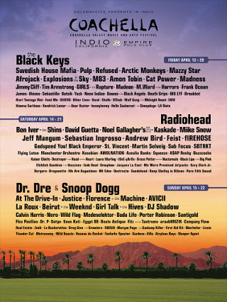Coachella 2012 Line-Up is Officially Released (YAY!!!)  I'm super stoked for Miike Snow, Bon Iver, M83, St. Vincent, Girls, The Rapture, The Black Keys, AWOLNATION, Florence and the Machine, Beirut, The Shins, Arctic Monkeys, Radiohead, Explosions in the Sky, and many more.   Snoop Dogg and Dr. Dre are also headlining. Two weekends of madness are coming to the Coachella Valley in April. Yee-haw! I can't wait :)