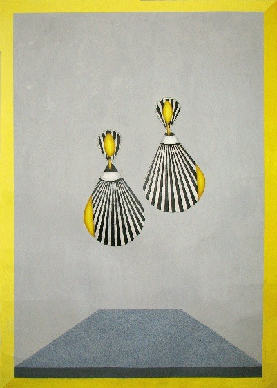 Earrings 2 5.5' x 8' Mixed Media on rice paper 2012