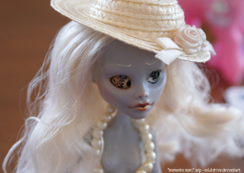 "tiny-hats:  i royally screwed up the gloss on her eye and i think i should have  used a smaller brush in the first place so i'm going to give her a new  face-up later, but for now she looks like this while i work on her  clothes. she's suppose to be kind of steam-punk themed and her working name is ""momento mori"" unless i can think of something better.  (i  have no idea where the hat and pearls came from, i just borrowed them  from one of my ponies since i thought they might look nice.)"