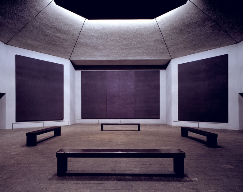 ROTHKO CHAPEL (Mark Rothko) The Rothko Chapel is a non-denominational chapel that was conceived and  created by Mark Rothko, the  Russian-born painter who worked in America and is famous for his  abstract paintings of large blocks of color. The eight paintings, including three triptychs (paintings of more than  one panel) are all painted mostly in black with a variation in color and  hue. They are by no means fourteen black panels. The colors deepen and  fade as one moves in front of the work and no two panels are the same.  Large canvases, they take up almost the entirety of the walls and imbue  the space with a serenity not seen in most religious spaces. The tone of  the room is meditative and tranquil and the paintings seem to at once  pulse with life and be at perfect stillness. The Chapel was finished and dedicated in 1971, but Mark Rothko did not  live to see his final product. He committed suicide in his studio on  February 20, 1970. This space is a testament to his ability to  communicate through deceptively simple paintings. His work is  characterized as abstract expressionism but he often spoke of rejecting  that title or any. He saw himself, and art, as outside of the labels  that seem to be necessary to categorize what we feel and see.