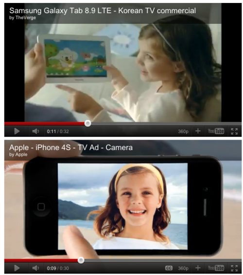 Apple hires child actress. Samsung hires child actress.