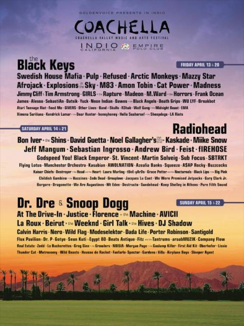 postdubstep:  Official Coachella Line-UpThe Weeknd, Azealia Banks, ASAP Rocky, Wolf Gang, SBTRKT, Frank Ocean. This year's line-up is fire.   coachelllaaaaa