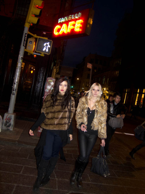 Alexia Starchild and Vanessa Dubasso on Spring Street in SoHo, New York this evening.  Photo by Brad Elterman