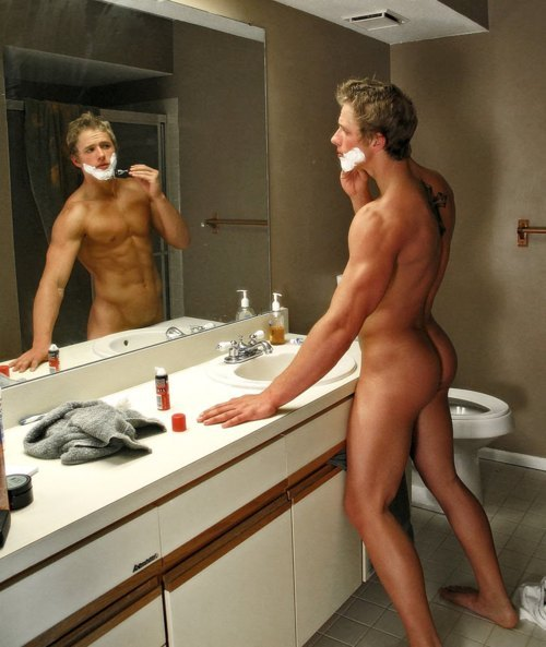 Mirror, Hot Guy, Shaving, Naked