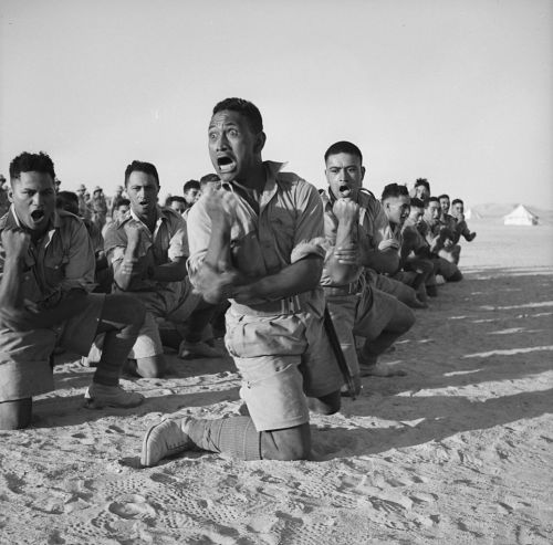 picturesofwar:  Members of the New Zealand Army's Maori Battalion, who had fought in Greece, performing a haka for the King of Greece. Helwan, Egypt - June 24, 1941