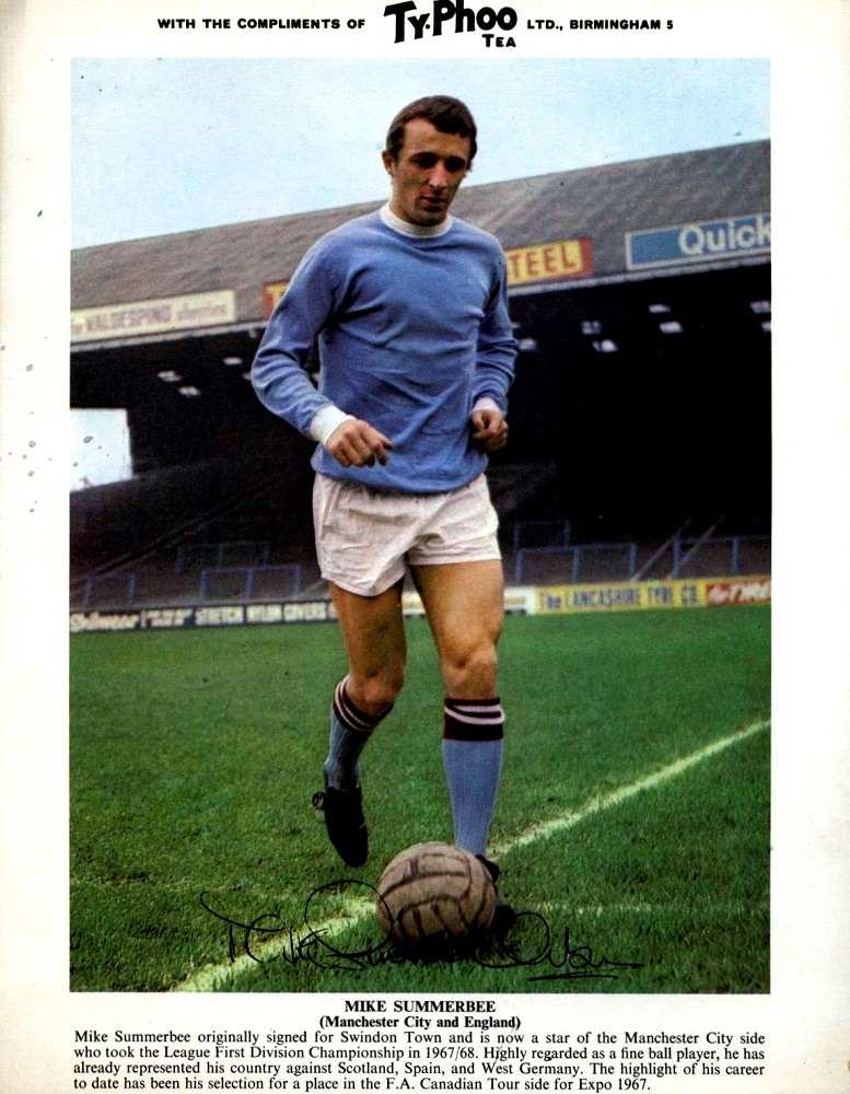 Mike Summerbee, Manchester City Ty-Phoo Tea Footballer Series 2, Published 1969 Source: retonthenet.co.uk