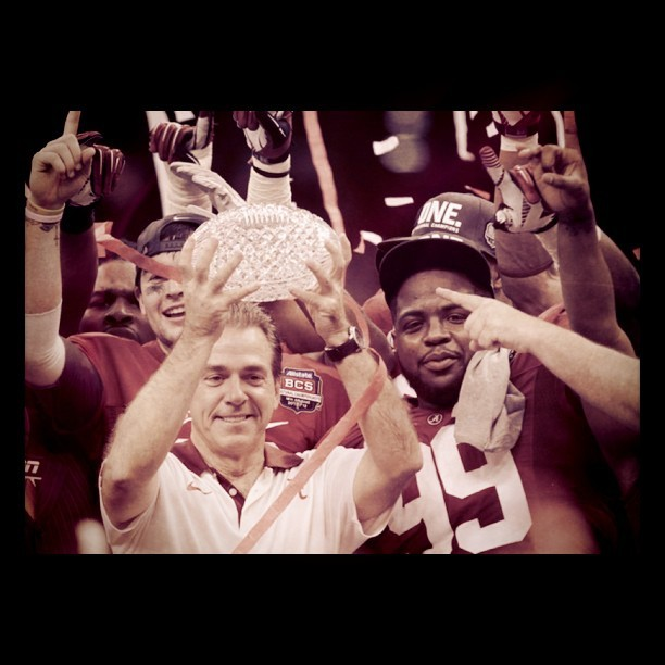 Nick Saban wins his 3rd #bcs national championship #Alabama beats #LSU 21-0 #sports #football (Taken with instagram)