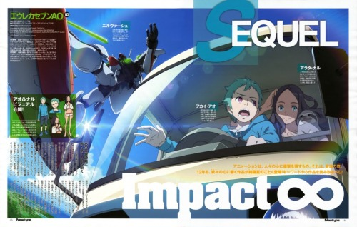 "Source: Anime News Network Eureka Seven AO Sci-Fi TV Sequel's Story Outined    The February issue of Kadokawa Shoten's Newtype magazine is presenting the story outline, staff list, and a new piece of art for Eureka Seven Ao, the sequel to Bones' 2005-2006 Eureka Seven television anime series, on Tuesday.  The story is set on Okinawa's isolated island of Iwado, which has seen a  growing movement advocating a return to an autonomous government. Ao  Fukai, a 13-year-old boy with a missing father, lives on the island with  an old doctor named Toshio and is about to enter middle school. Ao's  mother was taken away a decade ago by unknown individuals. Naru Arata,  Ao's 13-year-old childhood friend and the story's heroine, lives with  her father, older sister, and grandmother. She has a ""Yuta"" power  awakened within her due to an incident when she was young. A mysterious entity called ""Secret"" suddenly appears and launches an  attack on the Scub Coral lifeform on the island. In his fervent desire  to protect the island, Ao launches a certain military FP called  ""Nirvash"" aboard a Japanese military transport. The anime sequels features the return of the original anime's director,  several mechanical designers, art director, color stylist, visual  effects director, and director of photography. The first anime's  character designer Kenichi Yoshida and main mechanical designer Shoji Kawamori are also credited for ""key character designs"" and ""Nirvash designs,"" respectively. Director: Tomoki Kyoda Key Character Design: Kenichi Yoshida  Character Design: Hiroyuki Oda Nirvash Design: Shoji Kawamori  Mechanical Design: Kanetake Ebikawa, Kimitoshi Yamane, Takayuki Yanase  Design Development: Shigeto Koyama  Design Works: Shiho Takeuchi  Art: Kazuo Nagai  Color Design: Nobuko Mizuta  SF Setting: Mitsuyasu Sakai  VFX Director: Yasushi Muraki  Director of Photography: Shunya Kimura  Animation Production: BONES The new television series will premiere in April, and the story is being adapted in manga form in Kadokaw Shoten's Monthly Shōnen Ace and Newtype Ace magazines."