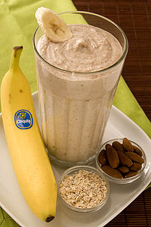 Drink this Banana Oatmeal Smoothie before your morning exercise routine and you'll have the energy you need to get through your workout. Ingredients: 2   whole Chiquita Bananas (best with brown flecks on peel) 2   cups Ice 1/3   cup Yogurt - preferably Greek yogurt flavored with honey 1/2   cup Cooked oatmeal 1/3   cup Almonds Instructions For Banana Oatmeal Smoothie: Pour all ingredients in blender pouring ice in last. Blend on high for 30 seconds or until smoothie thickens. Nutrition Information Per Serving:   Calories 380; Total Fat 15 g (Sat 2 g, Trans 0 g, Poly 4 g, Mono 8 g); Cholesterol 5 mg; Sodium 35 mg; Potassium 690 mg; Total Carbohydrates 53 g; Dietary Fiber 9 g; Total Sugars 19 g; Protein 12 g. Percent Daily Value: Vitamin A 2%; Vitamin B6 25%; Vitamin C 20%; Vitamin D 0%; Calcium 15%, Iron 15%.