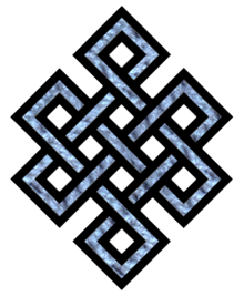 mynameistenzin:  The Endless Knot: The latter image signifies the dramatic interplay and interaction of the opposing forces in the dualistic world of manifestation, leading to their union, and ultimately to harmony in the universe. This fact is amply reflected in the symmetrical and regular form of the endless knot. The intertwining of lines represents how all phenomena are conjoined and yoked together as a closed cycle of cause and effect. Thus the whole composition is a pattern that is closed on in itself with no gaps, leading to a representational form of great simplicity and fully balanced harmony. Since all phenomena are interrelated, the placing of the endless knot on a gift or greeting card is understood to establish an auspicious connection between the giver and the recipient. At the same time, the recipient is goaded to righteous karma, being reminded that future positive effects have their roots in the causes of the present. This is because the knot represents a connection, a link with our fates, binding us to our karmic destiny. Not surprisingly, this is one of the most favorite symbols in Tibetan Buddhism, and often occurs on its own.
