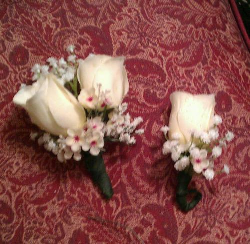 "the corsage and boutoneire I just made for ""Mercy Jones"""