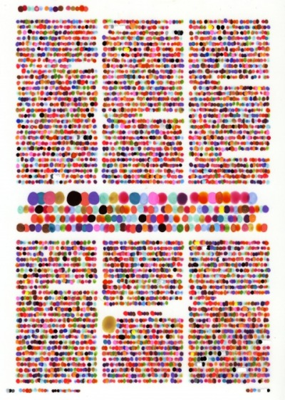Un Gris Typo tout en couleurs… Lauren DiCioccio:color codification dot drawings+VanityFair MAY08:pg128
