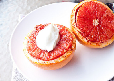 Broiled Grapefruit with Brown Sugar and Yoghurt
