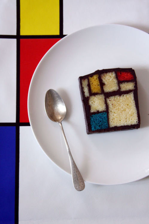 "Now Mondrian cake!!!!! I'm dying Art history + desserts = bliss katespadeny:   ""The Mondrian Cake"" by Caitlin Freeman.  looks a bit like the entrance to our corporate offices."