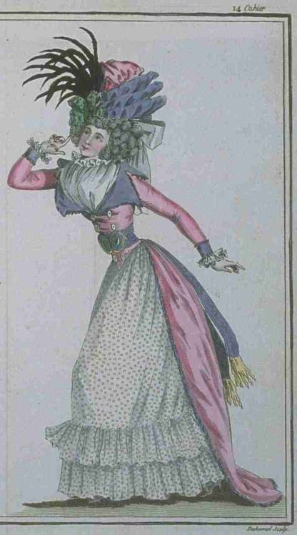 Magasin des Modes, March 1788. How amazing is this outfit?  The color combo is fabulous, and I'm in love with her huge contrasting collar!  And a spotty petticoat!