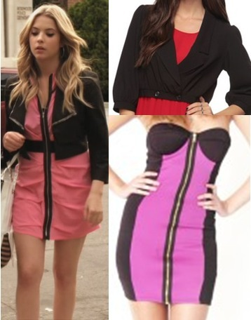 Hanna's pink Bebe dress was one of my favourites from the season so far. I was pleasantly surprised to find a similar dress, as i thought it would be pretty unique. Pair it with a cropped blazer and you'll look just like Hanna.  Under $50 Blazer:   Forever 21 Cropped Black Blazer - $29.80 Dress:  Zip Front Block Dress - $48.00
